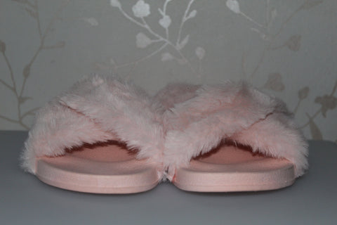 Girls/Ladies Long Fluffy Faux Fur Sliders/Slippers