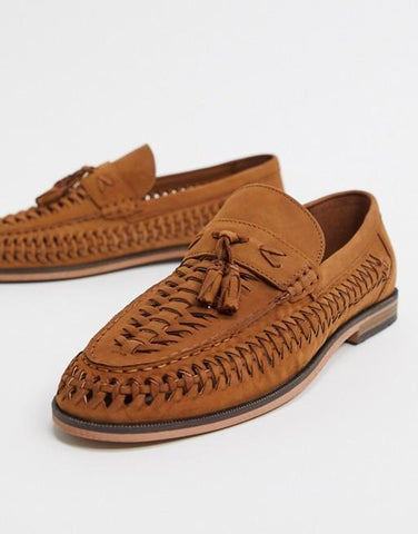 River Island Mens Woven Leather Tassel Loafers - Brown
