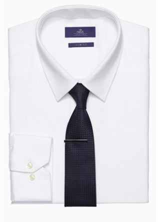 Next Mens White Shirt with Navy Tie Set