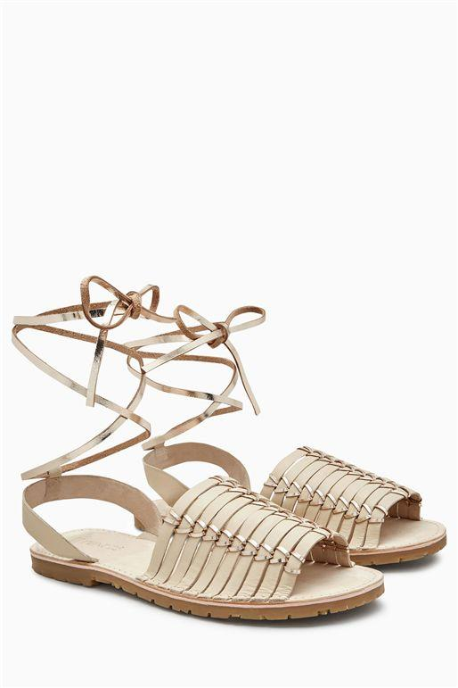 Next Womens Nude Woven Leather Beach Sandals