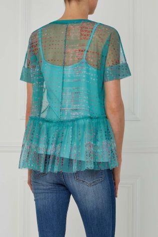 Next Teal Mesh Layer Top - Stockpoint Apparel Outlet