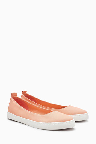 Next Womens Coral Slip-On Ballerinas
