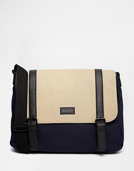French Connection Mens Canvas Messenger Bag