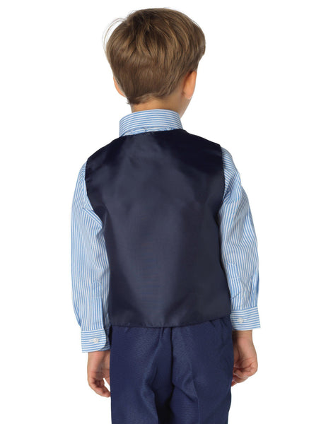 Shinny Penny Boys Blue Page Boy Outfit with Stripe Shirt - 4 Piece - Stockpoint Apparel Outlet