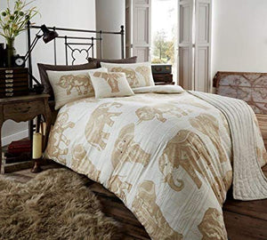 Gaveno Modula King Size 5 Piece Bed Set Tribal Elephant Natural