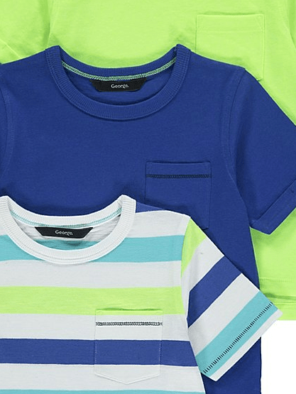 George Striped/Plain 3 Pack Assorted T-Shirts - Stockpoint Apparel Outlet