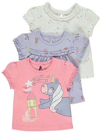 George Baby Girls Unicorn T-Shirts 3 Pack