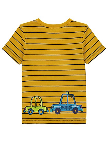 George Boys Vehicle Print Striped T-Shirt