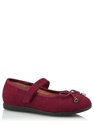 George Burgundy Bow Trim Ballet Girls Shoes