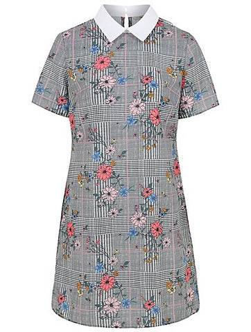 George Womens Floral Check Peter Pan Collar Dress