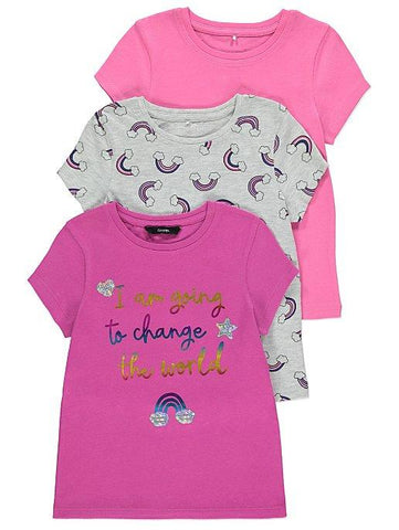 George Girls Pink Rainbow T-Shirts 3 Pack