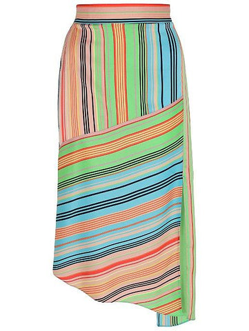 George Womens Contrast Stripe Asymmetrical Midi Skirt