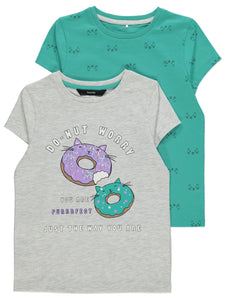 Teal Donut Print Girls T-Shirts 2 Pack