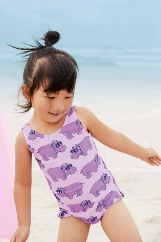 Next Purple Hippo Girls Swimsuit
