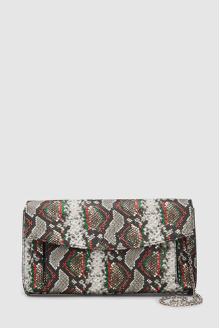 Next Snake-Effect Envelope Womens Clutch Bag