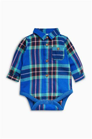 Next Baby Boys Bodysuit Check Shirt