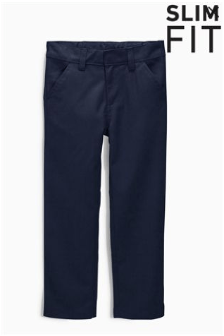 Next Boys Navy Flat Front Trousers Slim Fit