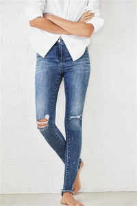 Next Womens Mid Blue Ripped Skinny Jeans