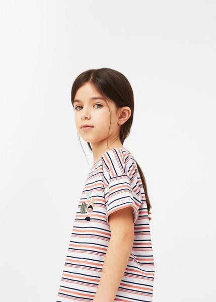 Mango Younger Girls Salmon Embroidery Striped T-Shirt