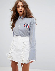 Boohoo Womens Studded Collar Shirt