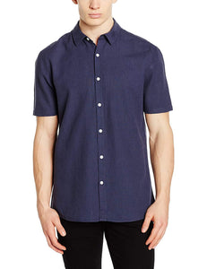 Casual Shirt Company Mens Navy Linen Short Sleeve Shirt