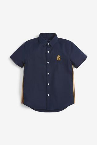 Next Navy Short Sleeve Side Stripe Oxford Boys Shirt