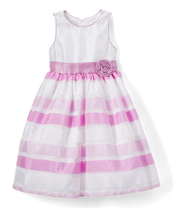 American Princess Girls White & Orchid Gradient Stripe A-Line Dress