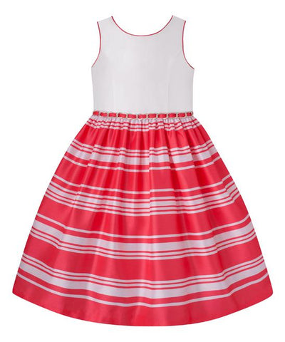 American Princess Girls Coral & White A-Line Dress