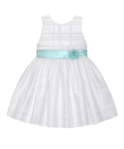 American Princess Girls Ivory & Mint Sash A-Line Dress