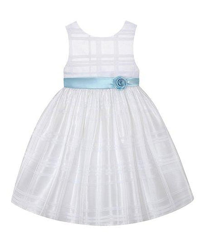 American Princess Girls White & Ice Blue Sash A-Line Dress