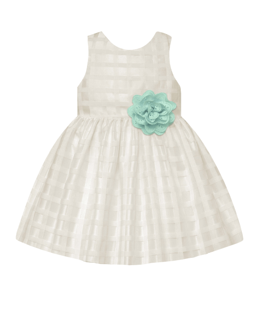 American Princess Girls Ivory & Mint Spring A-Line Dress