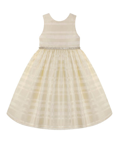 American Princess Girls Ivory Stripe A-Line Dress