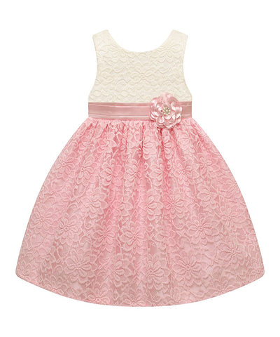 American Princess Candlelight Pink & White Lace Flower-Accent A-Line Girls Dress