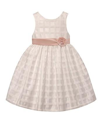 American Princess Girls Ivory Peach Spring A-Line Dress