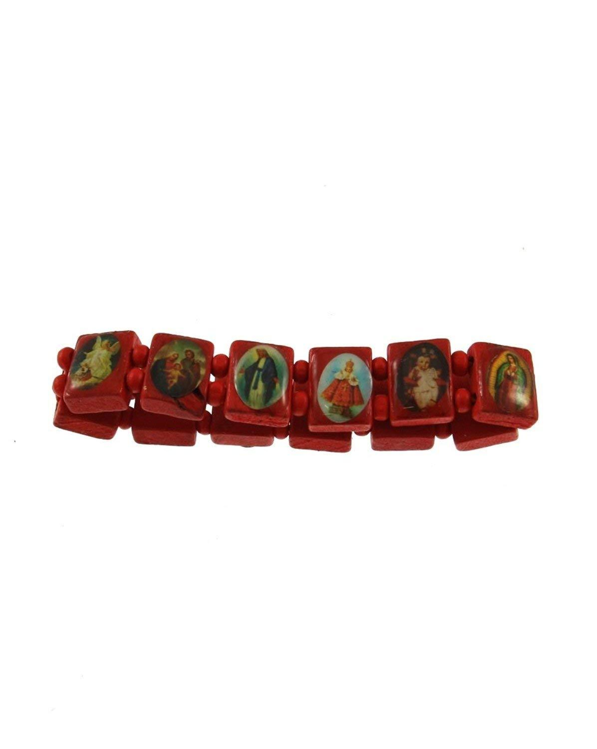 Red Wooden Religious All Saints Jesus Elasticated Stretch Bracelet Bangle Bracelet - Stockpoint Apparel Outlet