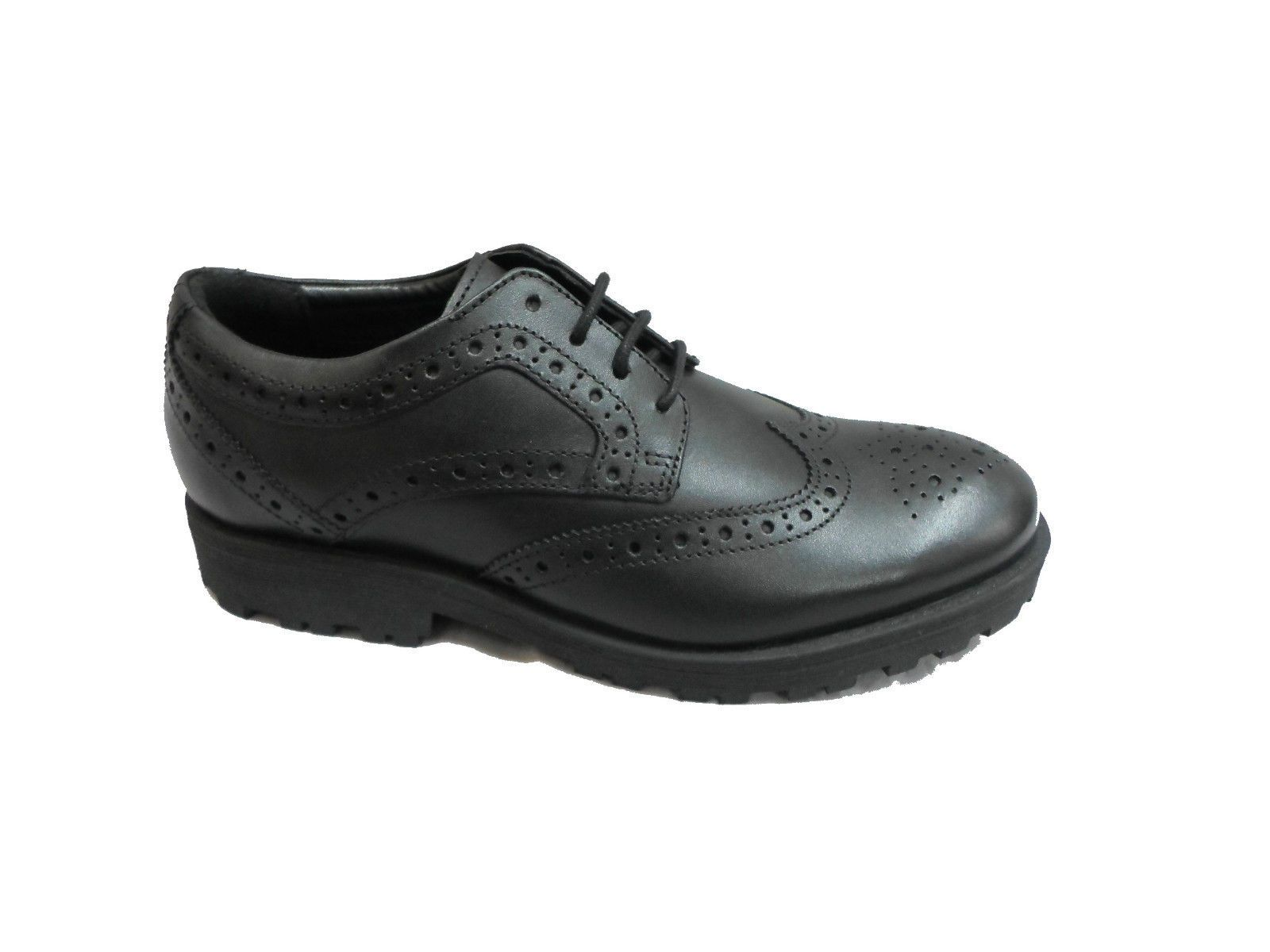 Airsoft Boys Black Smart Brogues Lace Up Shoes