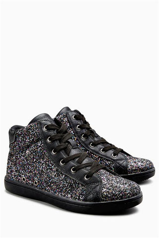 Next Womens/Girls Black Glitter High Tops