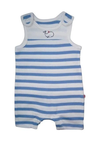 Whale Blue/White Striped Romper