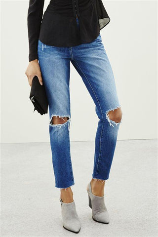 Next Womens Boyfriend Mid Blue Rip Jeans