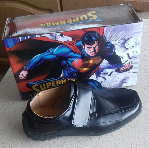 Superman Boys Black School Shoes