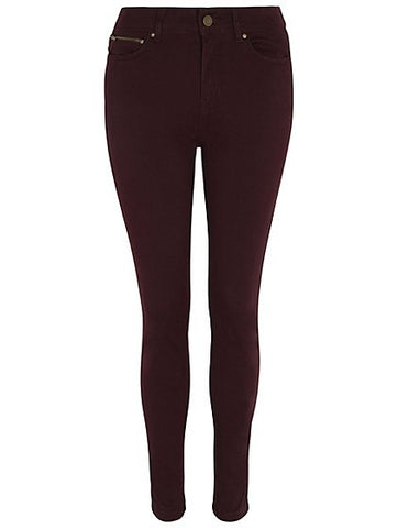 George Womens Burgundy Zip Detail Trousers