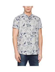 Burton Mens London End on End Floral Casual Grey Shirt