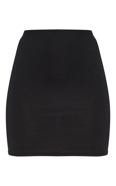 PrettyLittleThing Womens Basic Black Jersey Mini Skirt - Stockpoint Apparel Outlet