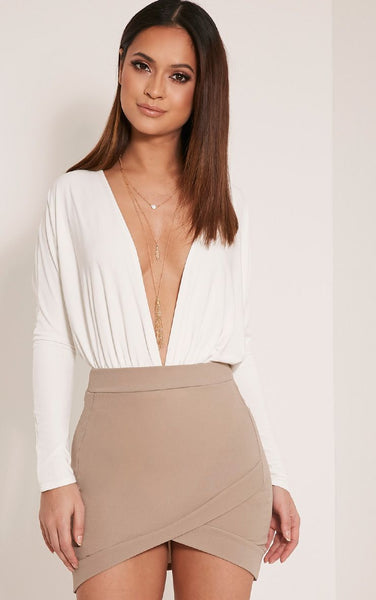 PrettyLittleThing Womens Gabriella Taupe Asymmetric Mini Skirt