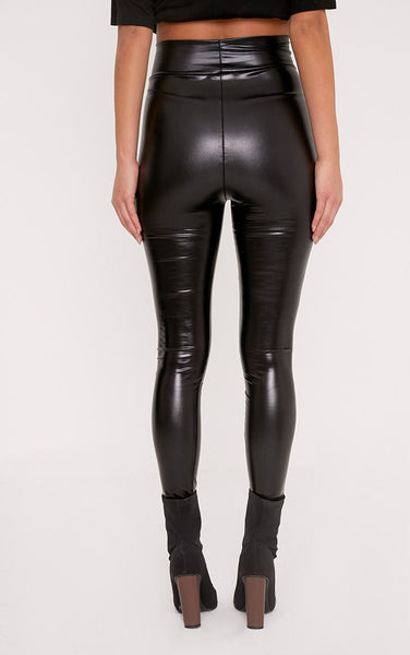 PrettyLittleThing Womens Tiana Black Wet Look Leggings