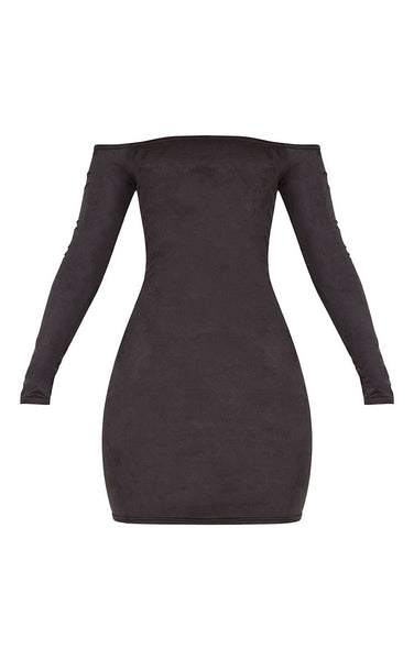 Pretty Little Thing Womens Violla Black Suede Bardot Long Sleeve Bodycon Dress