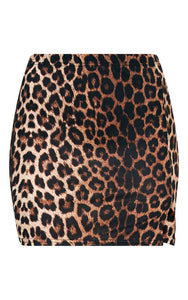 PrettyLittleThing Womens Brown Leopard Print Split Mini Skirt