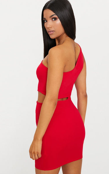 Pretty Little Thing Womens Red One Shoulder Cut Out Bodycon Red Dress