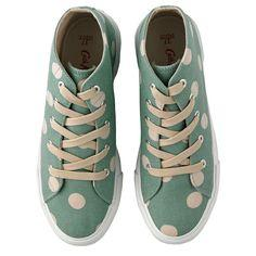 Cath Kidston Womens/Girls Green Button Spot Midtop Plimsoles