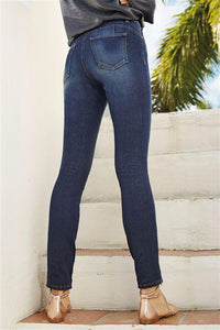 Next Womens Dark Blue Figure Relaxed Skinny Jeans